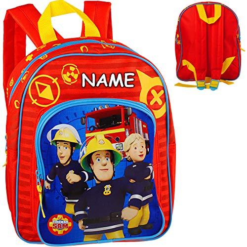alles-meine.de GmbH Kinder Rucksack - Feuerwehr & Feuerwehrmann Sam - inkl. Name - Tasche - beschichtet & wasserfest - Kinderrucksack / groß Kind - Jungen - z.B. für Kindergarten..