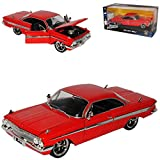 alles-meine.de GmbH Chevrolet Impala Dom´s Muscle Cars Coupe Rot The Fast and Furious 8 1/24 Jada Modell Auto mit individiuellem Wunschkennzeichen