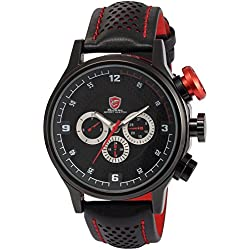 Shark Mens Fashion 6 Hands Date Day Racing Black Sport Quartz Watch + Box SH084