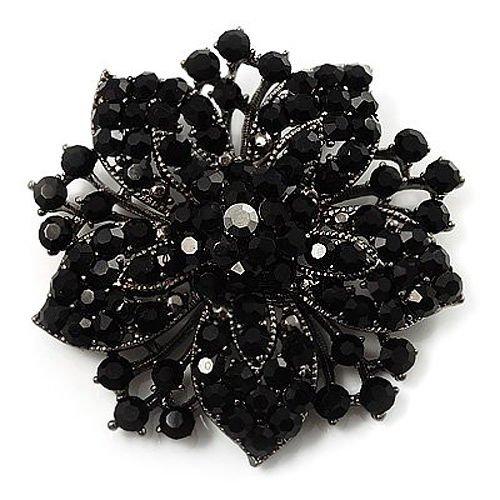 Klaritta BR175 - Spilla vintage a forma di fiore, con strass, colore: nero