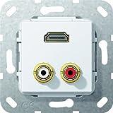 Gira 567303 HDMI Cinch Audio Gender Changer Einsatz, reinweiß