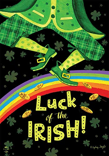 Irish Chicago Flagge (ASKYE Irish Luck St. Patrick's Day House Flag Leprechaun Rainbow for Party Outdoor Home Decor(Size: 12.5inch W X 18 inch H))