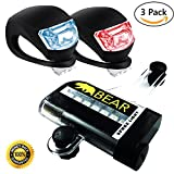 Professional Led Bike Lights Set - Front and Rear Super Bright Bicycle Light - White Headlight and Red Tailight, Waterproof, Compact, Easy Install, Quick Release, Not USB Rechargable, Batteries and 16 LED Spoke Light Included