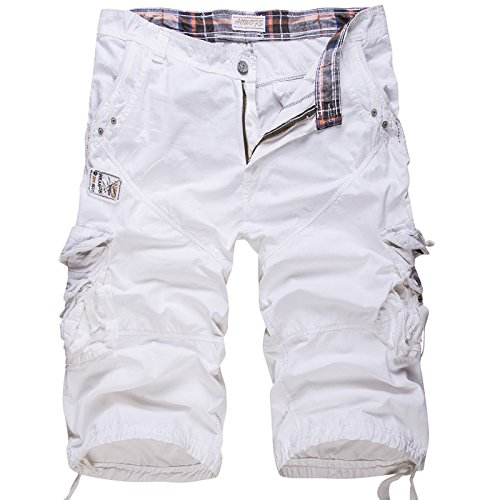 WSLCN Homme Vintage Cargo Shorts 100% Coton Pantacourt Outdoor Bermudas Shorts de Loisir Travail Uni Multi-Poches (sans Ceinture) Blanc FR 42 (Asie 34)