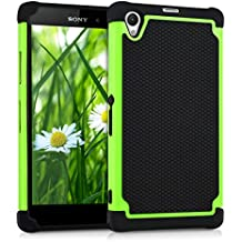 kwmobile Funda híbrida para > Sony Xperia Z1 < en verde negro. Interior de gel TPU, ¡estructura rígida! Ideal para uso al aire libre y ultramoderna