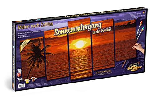 Schipper 609450728 609450728-Malen nach Zahlen, Sonnenuntergang in der Karibik, Polyptychon 132 x 72 cm, bunt -