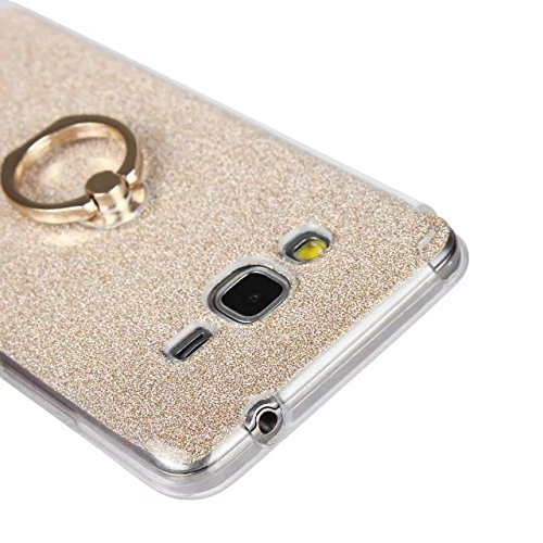 Luxus Bling Sparkle Style Case, Soft TPU [Silikon] Flexible Glitter Back Cover mit Fingerring Stand [Anti Scratch] [Shockproof] für Samsung Galaxy G530 ( Color : Gold ) Gold