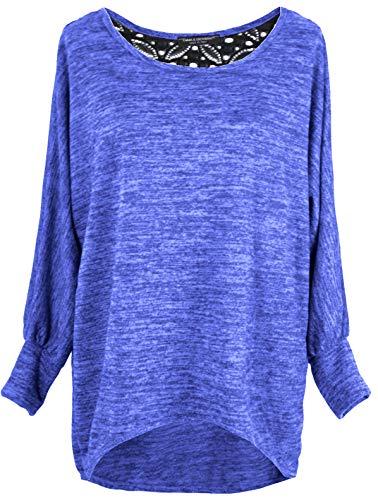 Emma & Giovanni - Damen Oversize Oberteile/Pullover mit Spitze (Blau, XL)