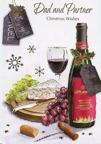 Dad And Partner Christmas Wishes - Wine & Cheese Christmas