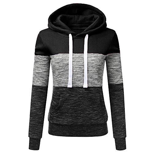 Emmay Herbst Stil Mode Frauen Casual Farbe Block Wesentlich Langarm Volleyball Sport Schlank Sweatshirt Jumper Pullover Bluse Jacke (Color : Z1Schwarz, Size : XL)