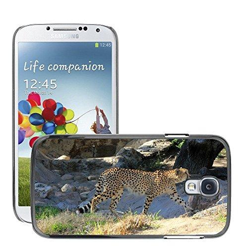 Just Phone Cases Bild Hart Handy Schwarz Schutz Case Cover Schale Etui // M00128864 Cheetah African Predator Gehen // Samsung Galaxy S4 S IV SIV i9500 (Gehen Cheetah)