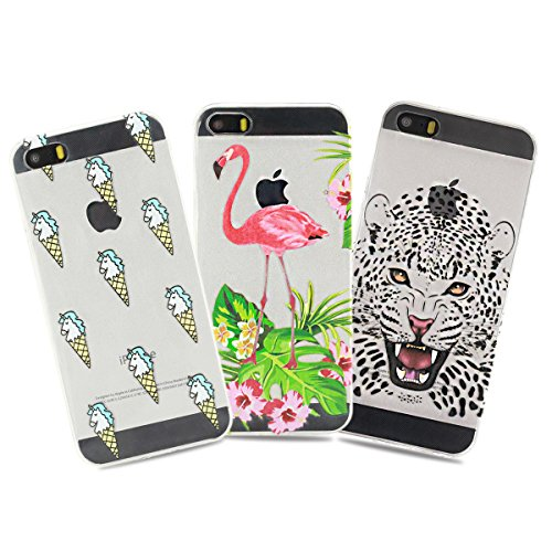 3 x Coque iPhone SE , iPhone 5S Etui TPU ,3 x Coque CaseLover Etui Coque TPU Slim pour iPhone 5 / iPhone 5S / iPhone SE Mode Flexible Souple Soft Case Couverture Housse Protection Anti Rayures Ultra M 3 x coque 1