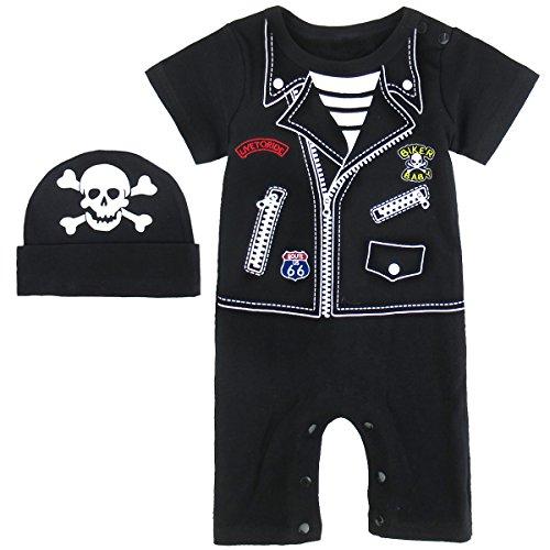 Punk Kostüm Strampler mit Hüte (0-6 Monate/70, Punk) (Punk Halloween-kostüme Für Babys)