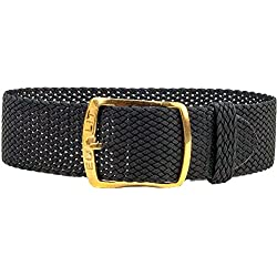 Kristall Replacement Band Perlon Strap Textile Strap black leather, braided, waterproof 25593G, width:10mm