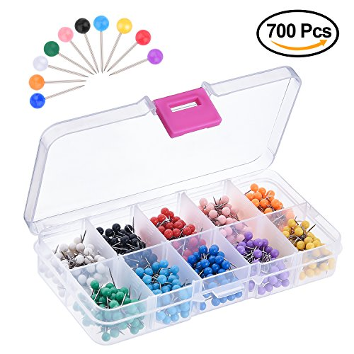 KUUQA 700 Pieces 1/8 inch Map Push Pins Map Tacks with Plastic Round Heads and Steel Needle Points 10 Colors (Each Color 70 PCS)
