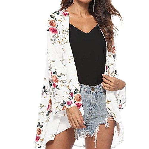 Kobay Damen Lange Ärmel Blumenbedeckung Lässige Bluse Tops Lose Kimono Cardigan Capes(X-Large,Weiß)
