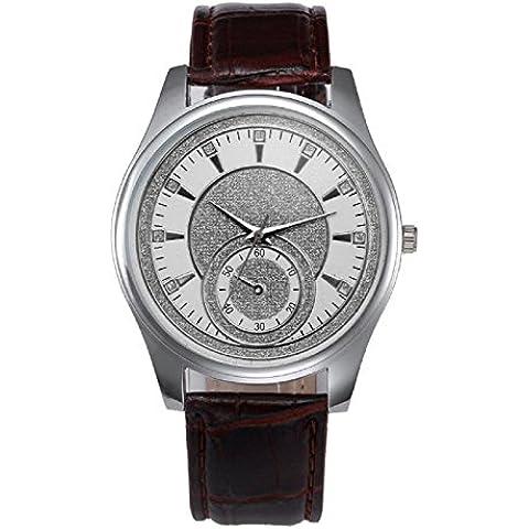 KanLin Acero inoxidable cuarzo reloj de pulsera de cuero de hombres nuevos (Marrón)