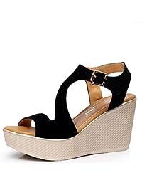 L@YC TalóN Impermeable De TacóN alto De La Plataforma De Las Sandalias Gruesas De Las Mujeres Con El TamañO Grande 2017 Zapatos De Las Mujeres