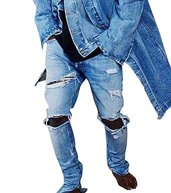 biker jeans hose mit l cher herren stretch denim slim fit. Black Bedroom Furniture Sets. Home Design Ideas
