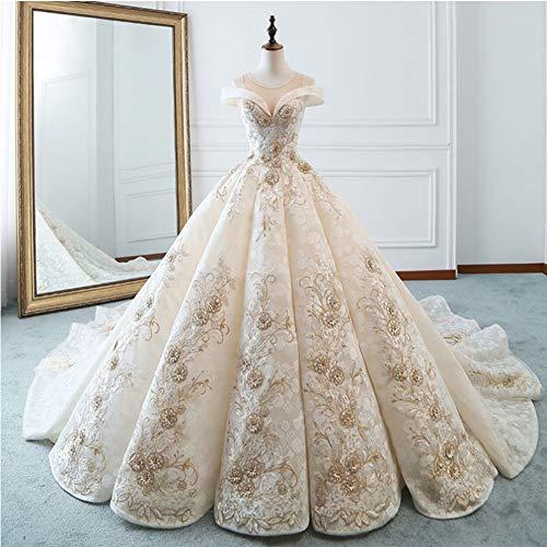 MENGHUAN Brautkleid Prinzessin Dream Einfache Braut Luxus Long Tail Large Size,M