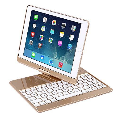 CAR SHUN IPad Tastaturhülle für iPad iPad 2017 (5th Gen) - iPad Pro 9.7 - iPad Air 2 - Dünn & Leicht - 360 Drehbar - Kabellos - iPad Hülle,Gold - Fall Ipad Swivel-tastatur