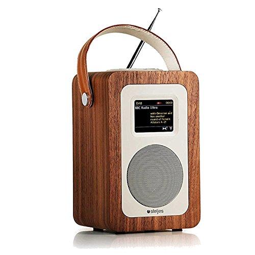 Steljes Radio Internetradio Digital Retro mit Bluetooth Lautsprecher DAB, DAB+, FM Radio, Spotify, Netzwerkplayer, Wecker, Wireless Portable Tragbar App Steuerung, 10 Stunden Spielzeit SA60 Braun