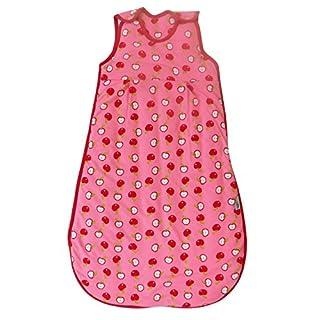 Schlummersack Ganzjahres Babyschlafsack in rosa für Mädchen gefüttert 2.5 Tog - Äpfel -70 cm / 0-6 Monate