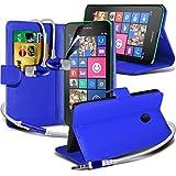 ( Blue ) Nokia Lumia 530 Ledergeldbörse Flip Hülle Tasche Mit-Schirm-Schutz-Schutz & Aluminium In Ear Ohrhörer Stereo-Kopfhörer-Kopfhörer Hands Free-Headset mit Mikrofon Mic & On-Off-Taste Einbau By Spyrox