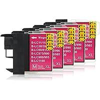 5 Cartucce Per Stampanti compatibile con Brother LC-1100 (Magenta)