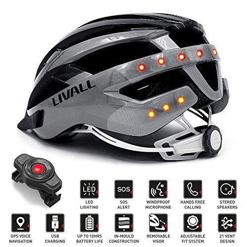 Livall Fahrradhelm MT1 mit Rücklicht, Blinker und SOS-System (schwarz/anthrazit) - 2