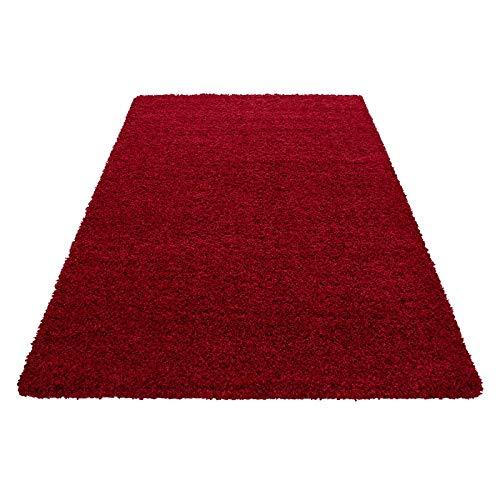 Hochflor Shaggy Teppich für Wohnzimmer Langflor Pflegeleicht Schadsstof geprüft 3 cm Florhöhe Oeko Tex Standarts Teppich, Maße:80x150 cm, Farbe:Rot