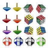 SHI WU Tapa de Madera de Colores, Mini Cubos de Rubik mágico y Mini Serpientes Puzzles de Cubos Retro mágicos (16PCS), Ideales para los favores de