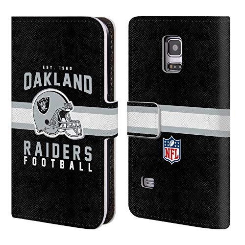fizielle NFL Helm-Buchdruckerkunst 2018/19 Oakland Raiders Brieftasche Handyhülle aus Leder für Samsung Galaxy S5 Mini ()