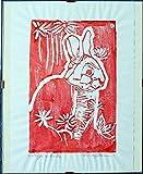 El conejo rojo,linograbado- Original artístico grabado por Davide Pacini, impreso a mano, dimensiones cm 20,9x29,8 cm + Marco por día. Hecho en Italia, Toscana Lucca.