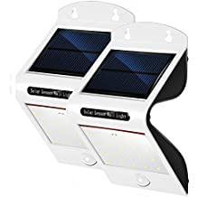 2 Stück PUNICOK Solarleuchten LED 6500K Solarlampe Sicherheits mit bewegungsmelder solarleuchten garten led Außenwandleuchten solarlicht für Haus Zaun Garten Garage Schuppen Licht IP65 Wasserdichte