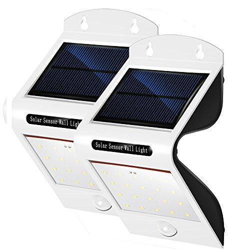 2 Stück PUNICOK LED 6500K Außen Solarlampe , 20 LED Solarleuchten mit bewegungsmelder Sicherheitslicht Solarlicht für Haus Zaun Gärten Türe Patio Terrassen Terrassen Wege IP65 Wasserdichte