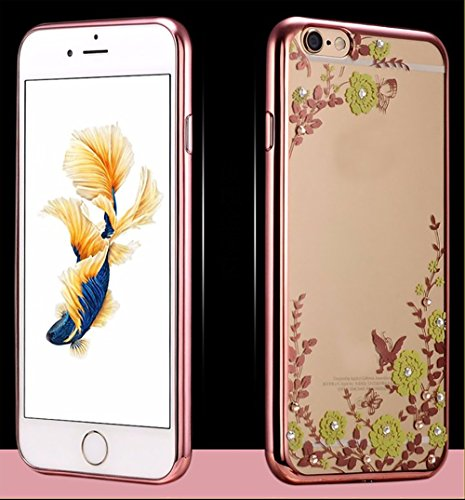 iPhone 6S Plus Étui TPU electroplating + Paillettes Fleurs aspect cristal pare-chocs 2016, Gold(Green Flowers), 158.1x77.8x7.1mm Rose Gold(Green Flowers)