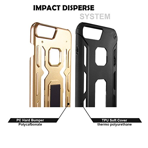 Custodia Cover iPhone 7 Plus, Yelun iPhone 7 Plus Case Ultra Slim - Inbuilt Kick Stand - Shockproof - Perfect Fit - Stylish & Lightweight - Nero Oro Champagne