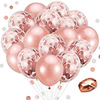 Winko 50 Pieces Rose Gold Balloons Set Include 10 Pieces Confetti Balloons and 40 Pieces Latex Balloons with 1 Rolls Balloon Ribbon for Wedding, Bridal Shower, Birthday Party Decorations