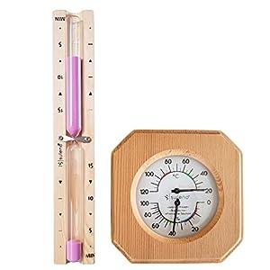Sauna-Set ANNA 2-teiliges Saunazubehör | Klimamesser Sanduhr Saunathermometer Saunahygrometer