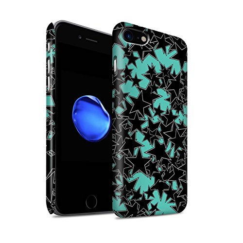 STUFF4 Matte Snap-On Hülle / Case für Apple iPhone 8 / Zufälliges Rosa Muster / Zerstreute Sterne Kollektion Zufälliges Türkis