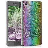 kwmobile Funda para Sony Xperia X - Case para móvil en TPU silicona - Cover trasero Diseño sol azteca en multicolor rosa fucsia transparente