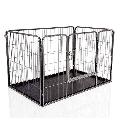 Docamor Jaula para Cachorros de Perro, 4 Paneles Resistentes para Cachorros con Bandeja de Piso de plástico, Color Negro, Grande