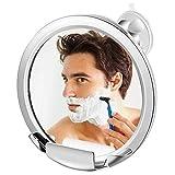 Jerrybox Anti-Beschlag Duschspiegel Beschlagfreier Rasierspiegel mit Saugnapf und Halterung, 360 Grad Drehbarer Badspiegel, Einstellbarer Badezimmer Wandspiegel, Rund