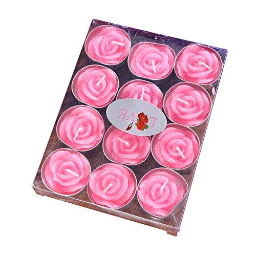 Dosige Rosenform Teelicht Rauchfreie Kerzen für Geburtstag Vorschlag Hochzeit und Party