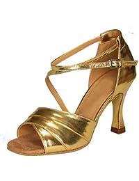 YFF Geschenke Frauen Dance Shoes Ballroom Latin Dance Tango Tanz Shoes 6CM,Golden,34 LEIT