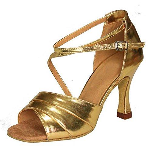 YFF Regalo donne danza scarpe ballo latino ballo tango danza scarpe 8.5cm golden