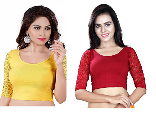 Fressia Saree Blouse Readymade Stretchable Cotton Lycra Free Size stitched Saree Blouses...
