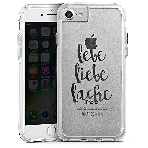 Apple iPhone 7 Bumper Hülle Bumper Case Glitzer Hülle Motiv ohne Hintergrund Lebe Liebe Lache Spruch Bumper Case transparent