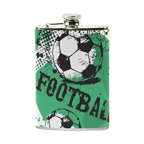 jeansame Personalisierte Flachmann Mini-Fläschchen Edelstahl 8oz für Frauen Herren Vintage Football Fußball Sport Spiel